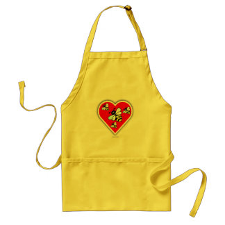 Love Bees (Four Bees Within Red Heart) Standard Apron