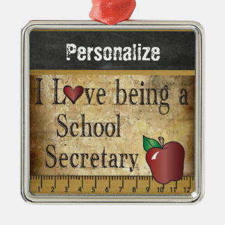 Love being a School Secretary   Vintage Silver-Colored Square Decoration