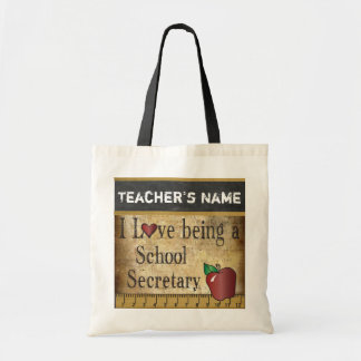 Love Being a School Secretary's Vintage Style Canvas Bags