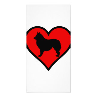 Love Belgian Shepherd Dog Silhouette red Heart Personalized Photo Card