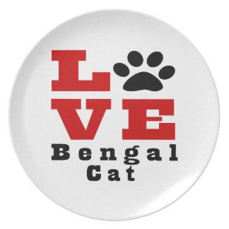 Love Bengal Cat Designes Dinner Plate