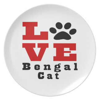 Love Bengal Cat Designes Party Plate