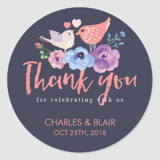 Love Bird Flower Thank You Script Wedding Sticker