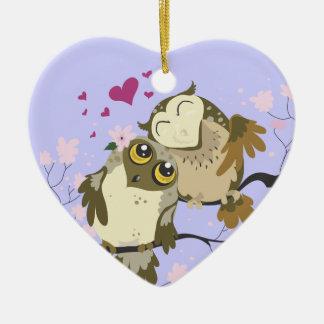 Love Bird Owls~ornament Ceramic Ornament