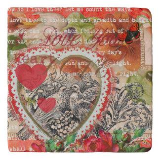Love Bird Red Heart Trivet