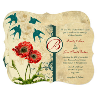 Love Bird Red Teal Lace Damask Poppy Wedding Card