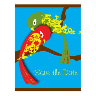 love bird, Save the Date stamp Postcard
