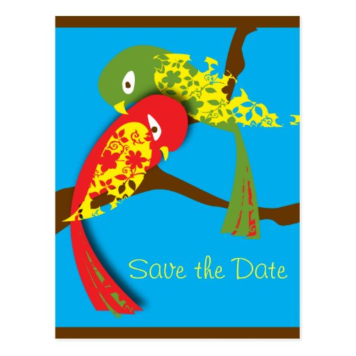 love bird, Save the Date stamp Post Cards