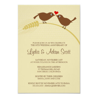 "Love Birds 3.5"" x 5"" Wedding Anniversary Card"