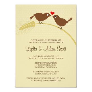 "Love Birds 5.5"" x 7.On Wheat - Wedding Anniversary 5.5x7.5 Paper Invitation Card"