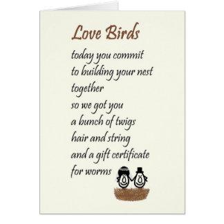 Love Birds - a funny wedding poem Card