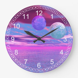 Love Birds - Abstract Pink and Purple Passion Clock