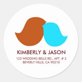 Love Birds Address Labels Round Sticker