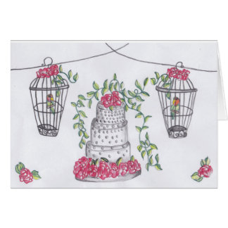 Love Birds and a Cake Card