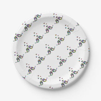 Love Birds and Hearts Paper Plate