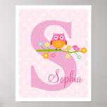 Love Birds and Owl on Branch Polka Dots Art Print