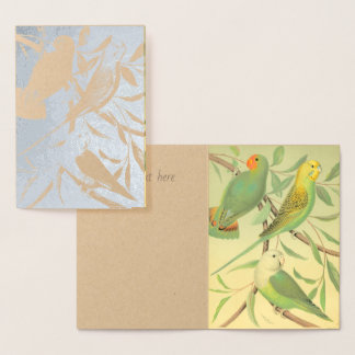 love birds  and parakeets -silver foil card