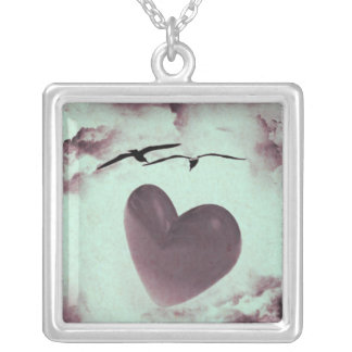Love Birds Art Image Pendant Heart Photo Jewelry