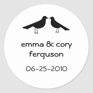 Love birds black white wedding favor tag label round sticker