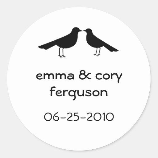 Love birds black white wedding favor tag label round stickers