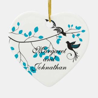 Love Birds Blue Ceramic Heart Decoration
