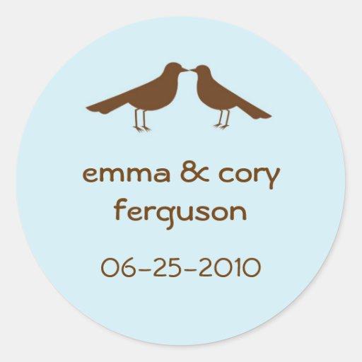 Love birds blue wedding favor name tag label round sticker