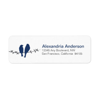 Love Birds Branch Return Address Labels (navy)