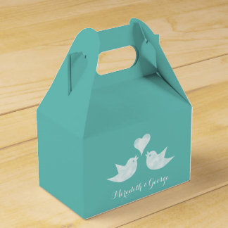 Love Birds Bride and Groom's Name Custom Colour Party Favour Boxes