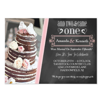 "Love Birds, Cake & Roses Post Wedding Party Invite 5"" X 7"" Invitation Card"