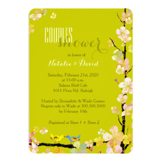 Love Birds Chartreuse Floral Couples Shower Card