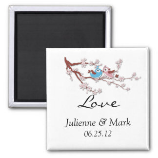 Love Birds Cherry Blossoms Wedding Magnet