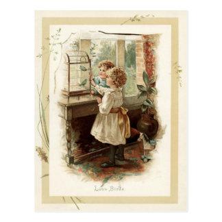 Love Birds & Children Vintage Reproduction Postcard