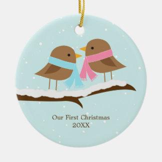 Love Birds Christmas Round Ceramic Decoration