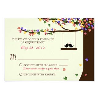 Love Birds Colorful Hearts Oak Tree RSVP 9 Cm X 13 Cm Invitation Card