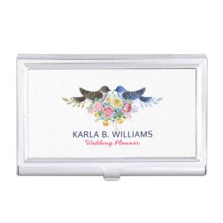 Love Birds Colorful Wedding Bouquet Business Card Case