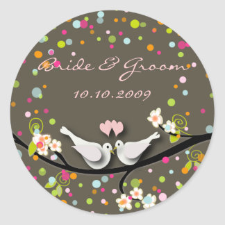 Love birds/confetti/DIY background color Classic Round Sticker