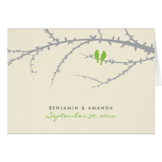 Love Birds Custom Thank You Card (green apple)