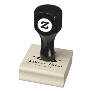 Love birds, customizable rubber stamp