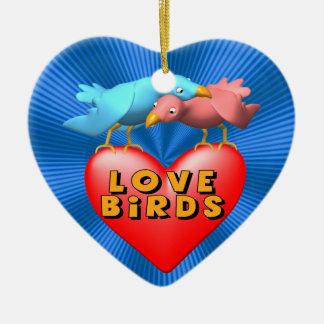Love Birds Ceramic Heart Decoration