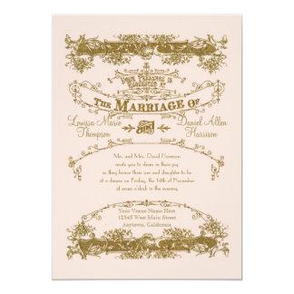Love Birds Etching Glamorous Vintage Wedding Blush Card