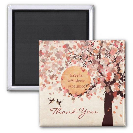 Love Birds - Fall Wedding  Thank You Favour Magnet