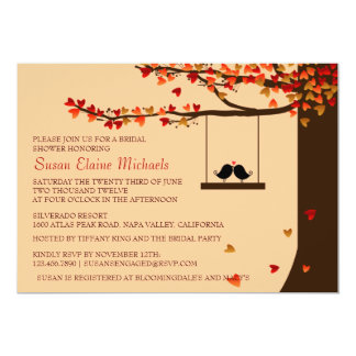 Love Birds Falling Hearts Oak Tree Bridal Shower 13 Cm X 18 Cm Invitation Card