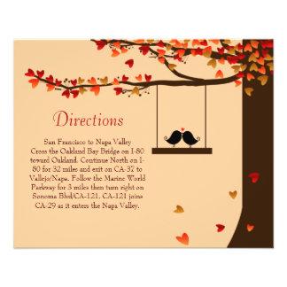 Love Birds Falling Hearts Oak Tree Directions Card 11.5 Cm X 14 Cm Flyer