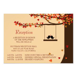 Love Birds Falling Hearts Oak Tree Reception Card