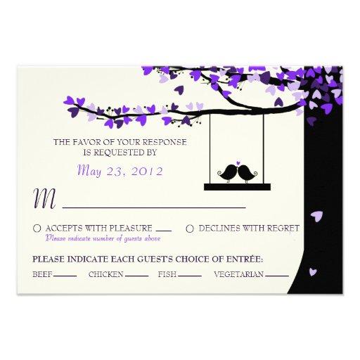 Love Birds Falling Hearts Oak Tree RSVP (Meal) Custom Invites