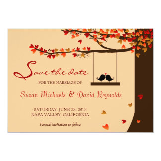 Love Birds Falling Hearts Oak Tree Save the Date 13 Cm X 18 Cm Invitation Card