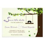 Love Birds Falling Hearts Oak Tree Save the Date 5x7 Paper Invitation Card