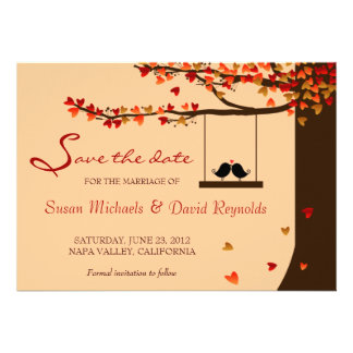 Love Birds Falling Hearts Oak Tree Save the Date Personalised Invite
