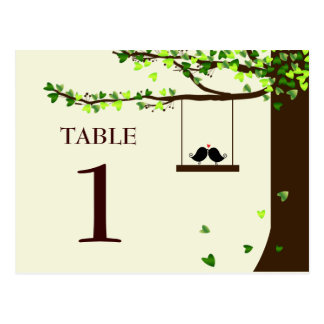 Love Birds Falling Hearts Oak Tree Table Number Postcard