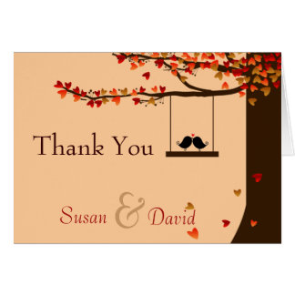 Love Birds Falling Hearts Oak Tree Thank You Note Note Card